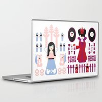 evil queen Laptop & iPad Skins featuring Good vs Evil: Snow White and the Evil Queen by Michelle Reaney