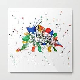 Rainbow Splatter Stegasaurus Dinosaur Metal Print