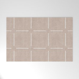 Block Print Simple Squares in Tan Welcome Mat