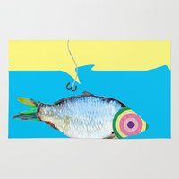 fishing Area & Throw Rugs featuring Fishing by ilkai