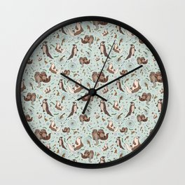 Cute Sea Otters Wall Clock