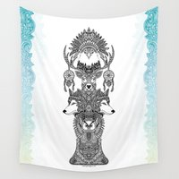 totem Wall Tapestries featuring Indian Totem by Art & Be