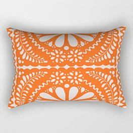 Fiesta de Flores Orange Rectangular Pillow