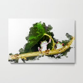 Two Frogs Under a Leaf Metal Print