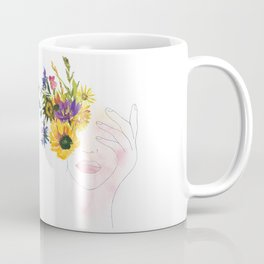 Minimal Line Art Drawing Girl With Summer Watercolor Flowers Bouquet Coffee Mug
