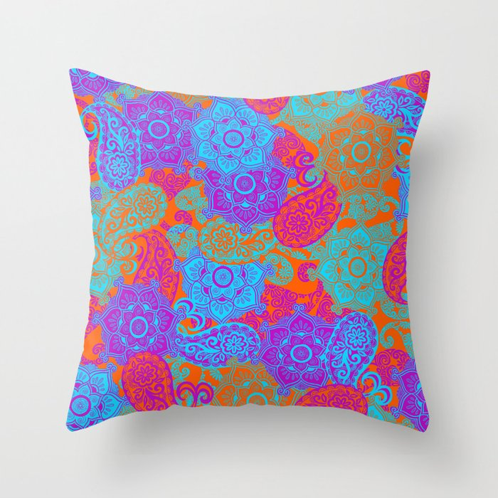 vibrant paisley Throw Pillow by normalindsay Society6