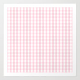 Light Soft Pastel Pink and White Gingham Check Plaid Art Print