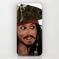 jack sparrow iPhone & iPod Skins featuring Jack Sparrow by San Fernandez