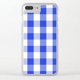 Blue and white Tartan (Scotch) Pattern Clear iPhone Case