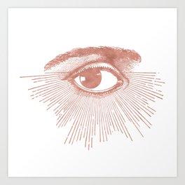 I see you. Rose Gold Pink Quartz on White Art Print
