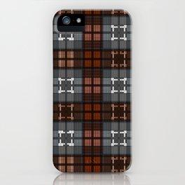 Dark black and blue plaid checkered Scandinavian design iPhone Case