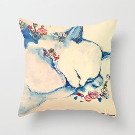 Cat sleeping with flowers Throw Pillow