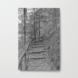Wooden stairs, black and white photography Metal Print