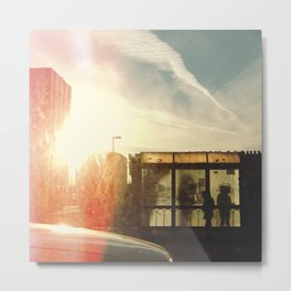 Bus Stop - Woodward Ave Metal Print