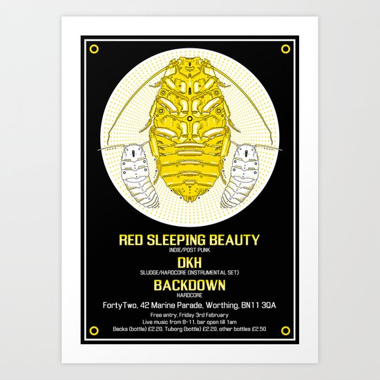 FortyTwo - Red Sleeping Beauty Gig Poster Art Print