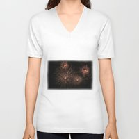 fireworks V-neck T-shirts featuring Fireworks by Carlo Toffolo