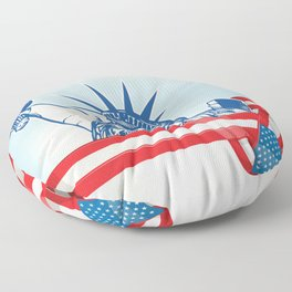 USA flag with statue of liberty.clip art illustration Floor Pillow
