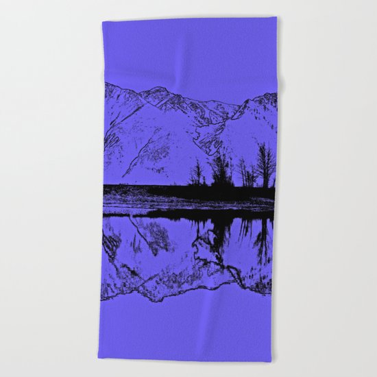 Knik River Mts. Pop Art - 1 Beach Towel