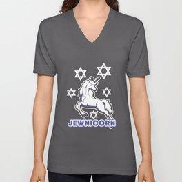 Jewnicorn Jewish Unicorn Funny Hanukkah Unisex V-Neck