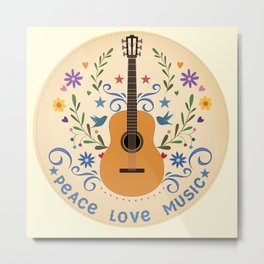 Peace Love And Music Folk Guitar Badge Metal Print