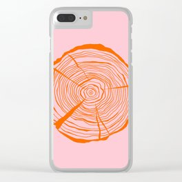 Tree Ring Red and Pink Clear iPhone Case