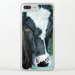 Muddy Fields Cow Painting Clear iPhone Case