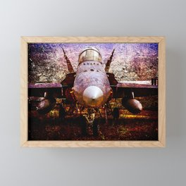 Frontal View Of A Modern Military Fighter Plane. Stylized Art Of Aviation Framed Mini Art Print