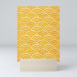 Japanese Seigaiha Wave – Marigold Palette Mini Art Print