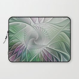 Colorful Fantasy Flower, Abstract Fractal Art Laptop Sleeve
