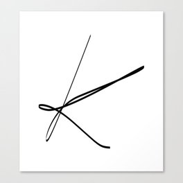 """ Singles Collection "" - One Line Minimal Letter K Print Canvas Print"
