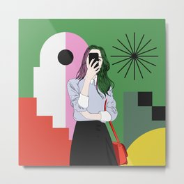 The magic of colours. Aesthetic wall art of young girl taking a selfie with her mobile phone Metal Print
