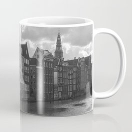 Amsterdam houses on a River in black and white Coffee Mug