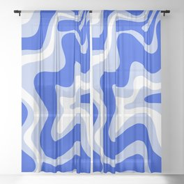 Retro Liquid Swirl Abstract Pattern Royal Blue, Light Blue, and White  Sheer Curtain