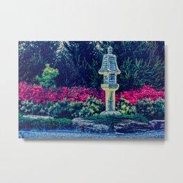Oriental Garden with Birdhouse Statue Metal Print