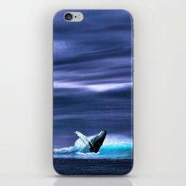 Blue whale breaking surface of ocean iPhone Skin