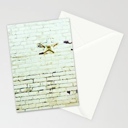 Painted Brick Wall -- Reach High Quote-- Antique Star Adornments Stationery Cards