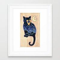 ouija Framed Art Prints featuring Ouija Cat by Kiki Stardust (OLD)
