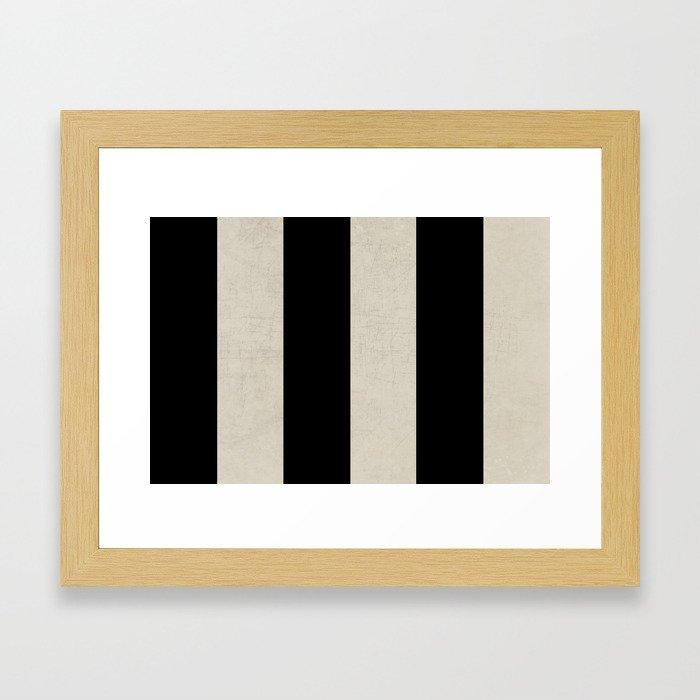 vintage black stripes Framed Art Print