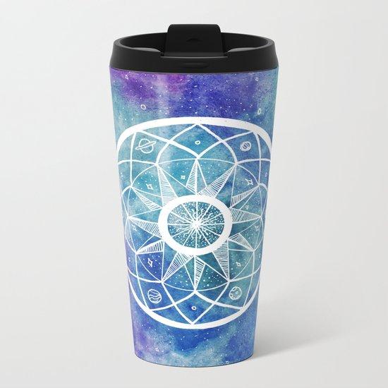 Watercolour Cosmic Mandala Metal Travel Mug