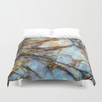 grey Duvet Covers featuring Marble by Patterns and Textures