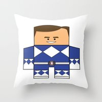 power rangers Throw Pillows featuring Mighty Morphin Power Rangers - The Original Blue Ranger Unmasked (Billy) by Choo Koon Designs