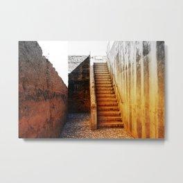 Rustic Fortress Stairway Metal Print