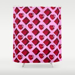 ENCRUSTED RUBY JEWELED  VALENTINE HEARTS  DESIGN Shower Curtain