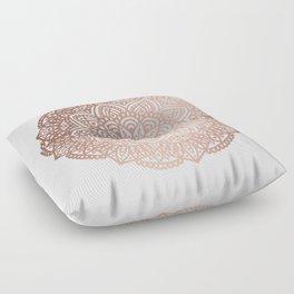 Rose Gold Circular Mandala Floor Pillow