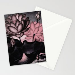 Millennial Pink Slate Gray Temple of Flora Stationery Cards