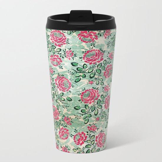 Retro French Floral Pattern Metal Travel Mug