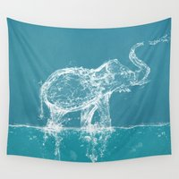 yetiland Wall Tapestries featuring Elephant by Paula Belle Flores