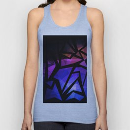 Abstract print of triangles polygon print. Bright dark design colors Unisex Tank Top