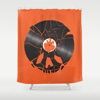 shaun of the dead Shower Curtains featuring Shaun of the dead by Wharton