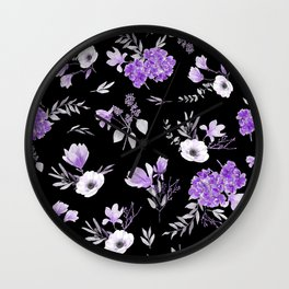Lavender & Black Pattern Wall Clock